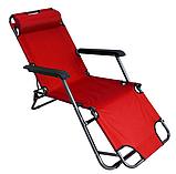 Садовое кресло шезлонг раскладное 3 положения подголовник в комплекте, фото 3