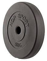 Блин, диск для штанги или гантелей 5 кг битумный
