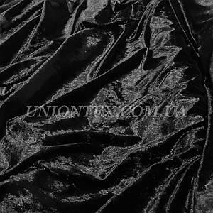 Ткань бархат стрейч мрамор черный