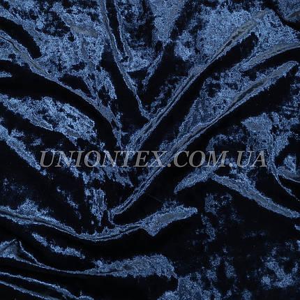 Ткань бархат стрейч мрамор темно-синий, фото 2