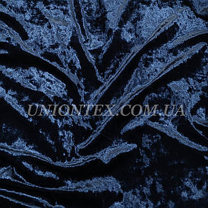 Ткань бархат стрейч мрамор темно-синий
