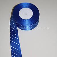 Стрічка синя в горошок 4 см