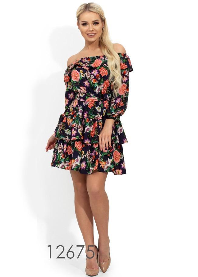 Летнее платье с цветочным принтом Д-265