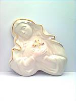 Керамический барельеф Дева Мария, роспись золотом