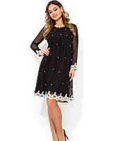 Черное платье двухслойное с жемчужинами размеры от XL ПБ-827