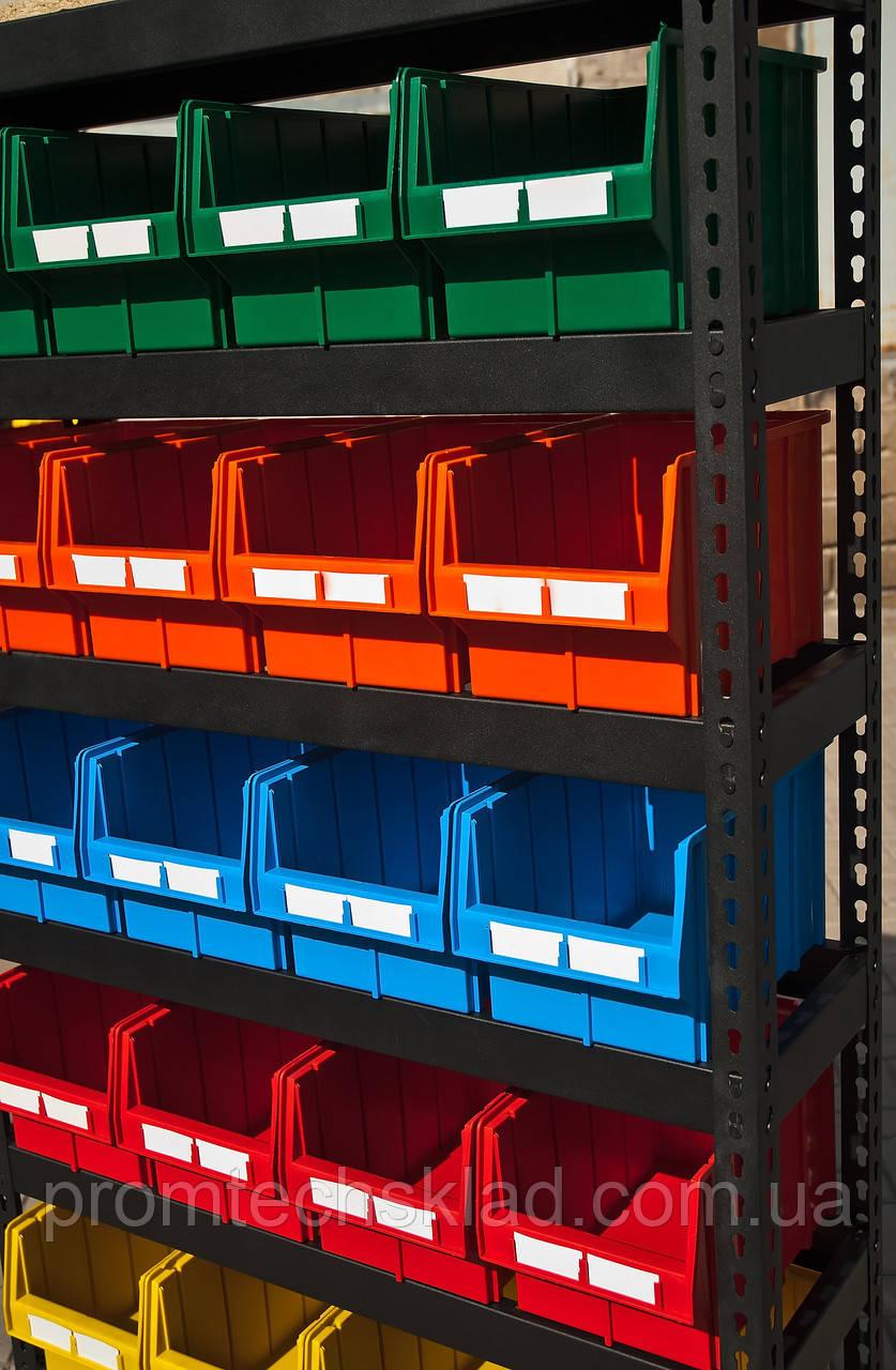 Стеллаж 1800 мм торговый для метизов с цветными ящиками