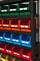 Стеллаж торговый для метизов с цветными ящиками