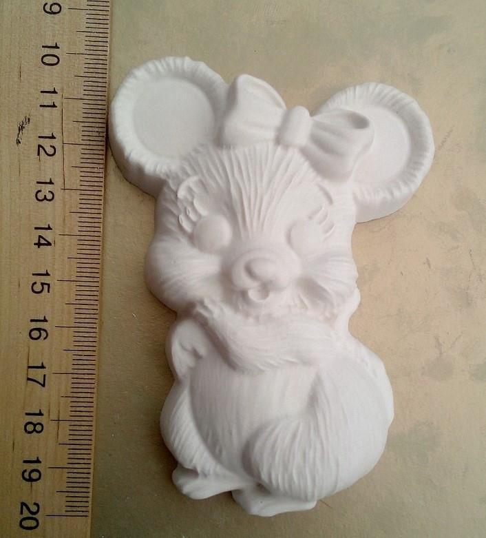 Гипсовая фигурка заготовка для раскрашивания. Гіпсова фігурка для розмальовування Мышка с бантом