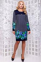 Красивое женское платье темно-синее с цветами размеры от XL ПБ-185