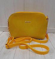 Женская сумочка в стиле Zara жёлтая замш