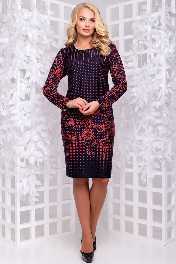 Красивое женское платье миди из трикотажа с принтом размеры от XL ПБ-212