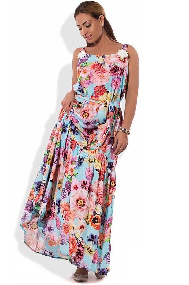 Платье сарафан макси голубой с цветами размеры от XL ПБ-230