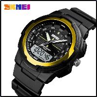 Стильные фирменные часы Skmei 1454  золотые водонепроницаемый (5АТМ)