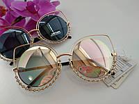 """Женские солнцезащитные очки Cat Eye """"кошачий глаз"""" зеркальные металлические (095), фото 1"""