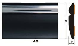 Декоративный молдинг на авто 49 черный+хром полоса 7х46мм