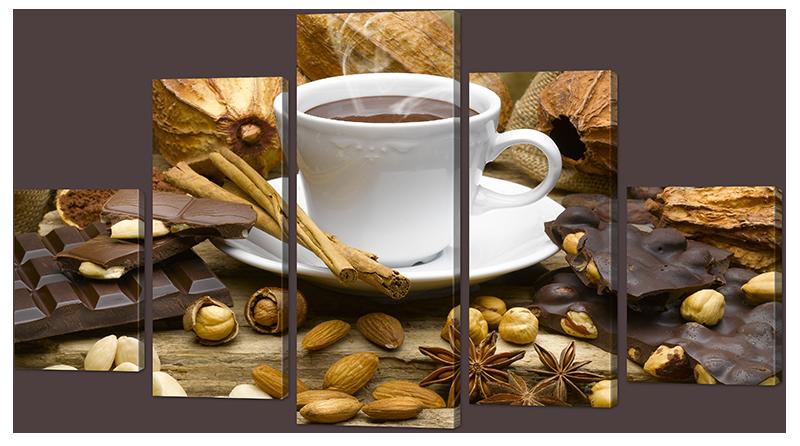 Модульная картина Interno Эко кожа Миндаль, кофе 158х90см (А965XL)