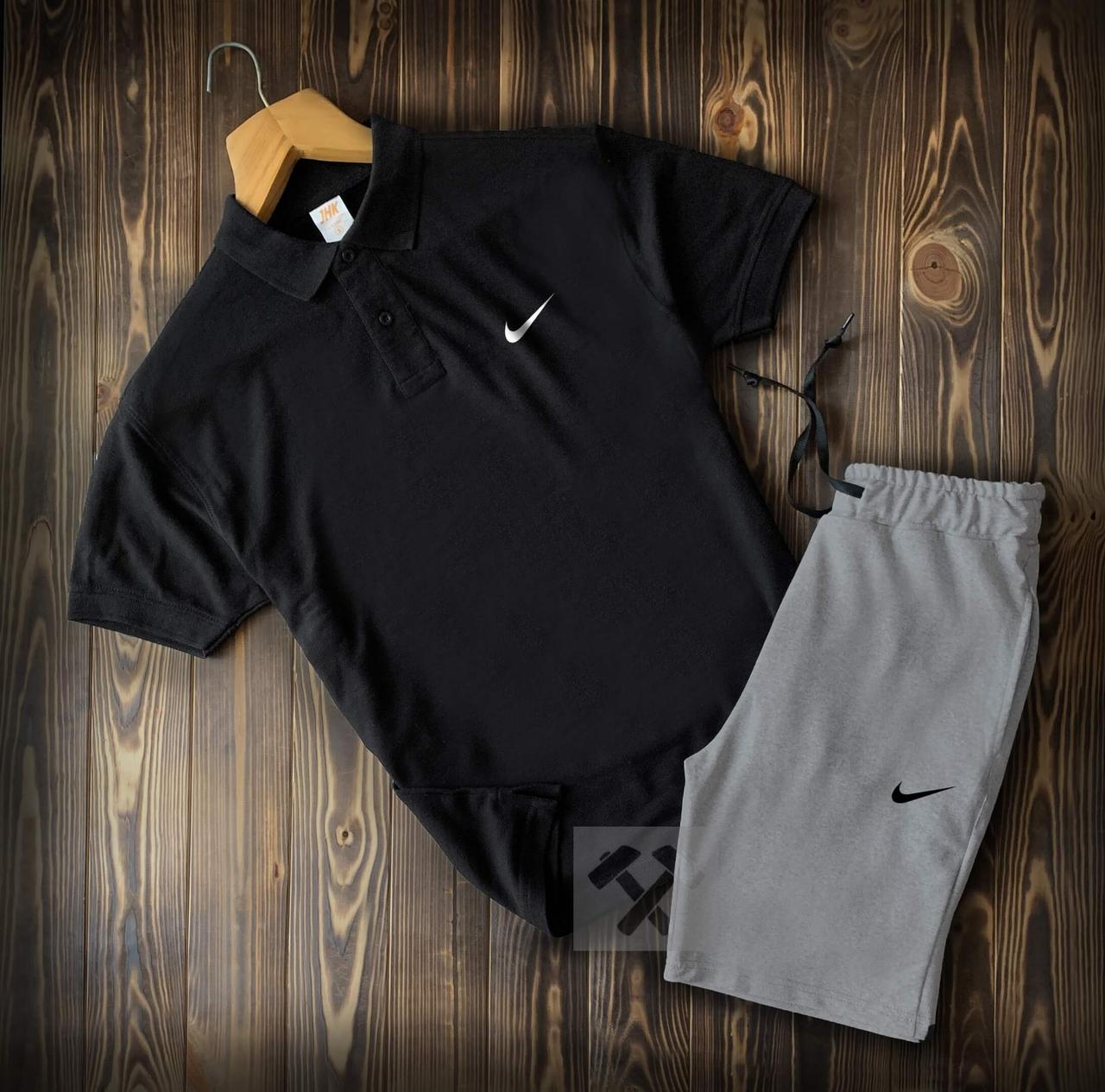 Мужские шорты и футболка поло Найк (Nike) черно-серого цвета на лето