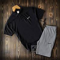 Мужские шорты и футболка поло Найк (Nike) черно-серого цвета на лето, фото 1