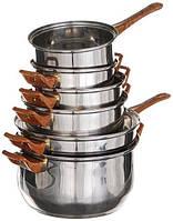 Набор кастрюль + сковорода. 12 предметов. Нержавеющая сталь, стеклянные крышки  (9035), фото 1