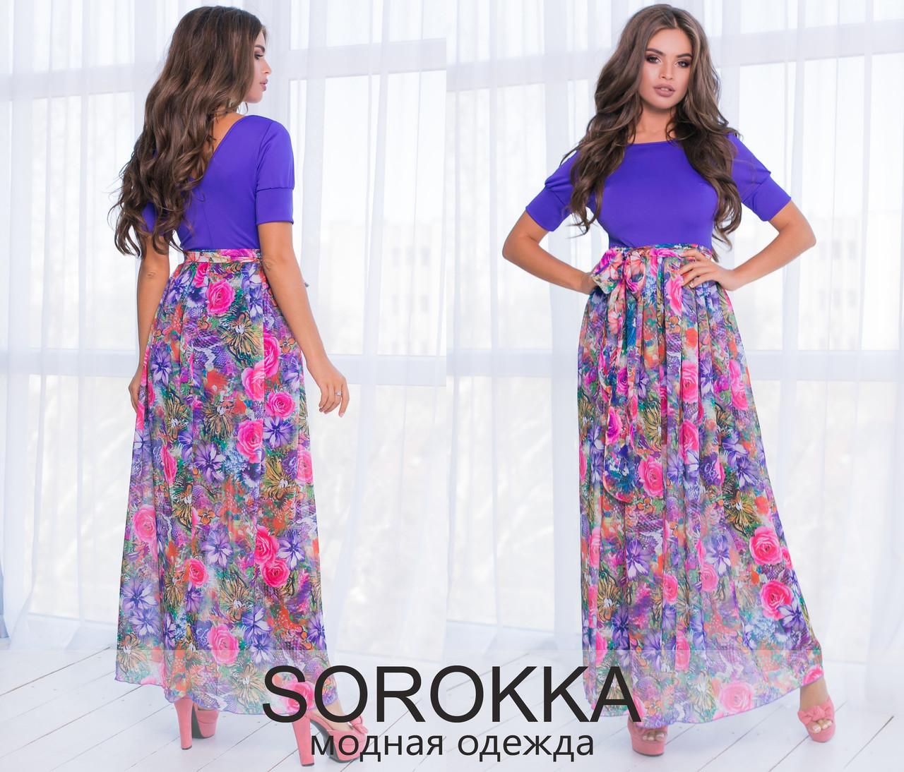 e635293dec24075 Длинное летнее платье с шифоном. Фиолетовое, 3 цвета. - ВРЕМЯ МОДЫ в Одессе