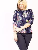 🌺 Женская блуза темно-синяя в цветочный принт, фото 1
