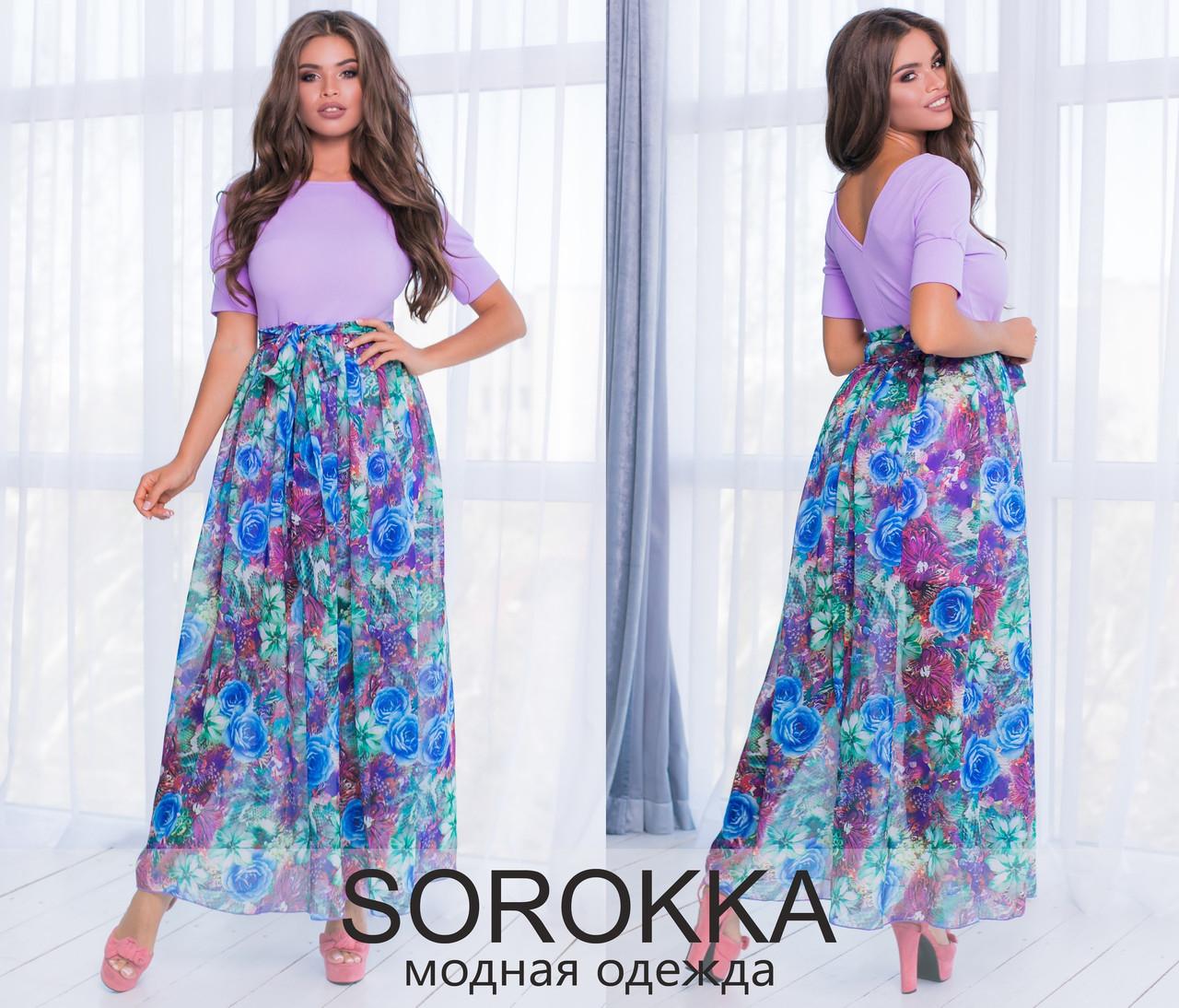 c35f689785b979d Длинное летнее платье с шифоном. Лаванда, 3 цвета. - ВРЕМЯ МОДЫ в Одессе