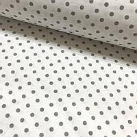 Хлопковая ткань серый горох 7 мм на белом