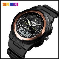 Стильные фирменные часы Skmei 1454  красное золото водонепроницаемый (5АТМ)
