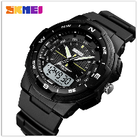 Стильные фирменные часы Skmei 1454 черные водонепроницаемый (5АТМ)
