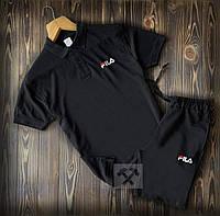 Летний мужской спортивный костюм Fila черного цвета (шорты и футболка поло Фила)