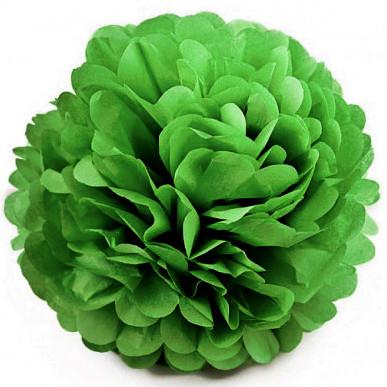 Бумажный помпон для праздника 25 см зеленый