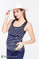 Майка для беременных и кормящих Kler ЮЛА МАМА (тёмно-синий в полоску, размер S), фото 1
