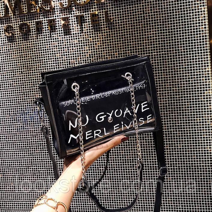 Женская прозрачная сумка с кошельком Un Goyave Merveilles черная, фото 1