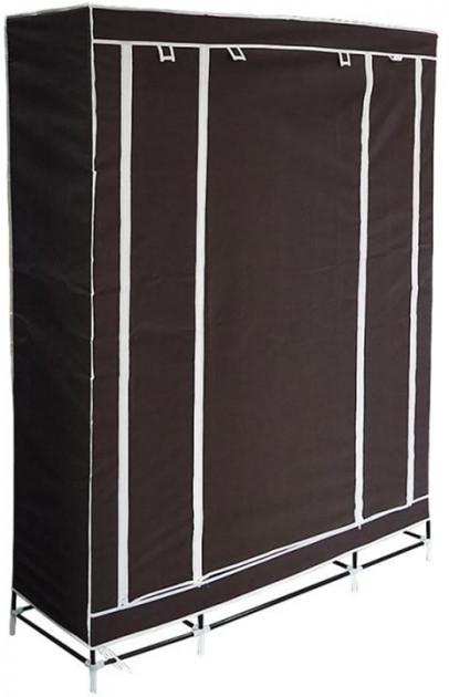 🔝 Портативный тканевый складной шкаф-органайзер для одежды на 3 секции - коричневый   🎁%🚚