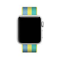 Ремінець для годинника Apple Watch 42 мм 44 мм нейлоновий з пряжкою, Blue-yellow-green, фото 2