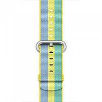 Ремінець для годинника Apple Watch 42 мм 44 мм нейлоновий з пряжкою, Blue-yellow-green, фото 3