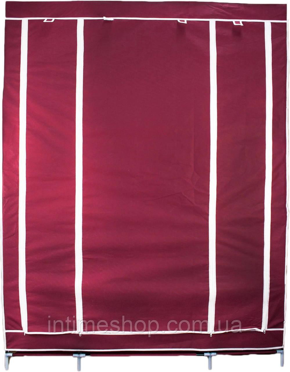 🔝 Портативный тканевый шкаф для одежды на 3 секции - бордовый   🎁%🚚