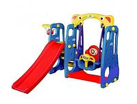 Детская игровая площадка. Горка качели баскетбол 3 в 1 (детский игровой комплекс), фото 1