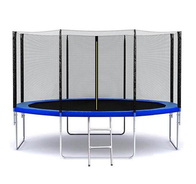 Батут SkyJump 374 см. с защитной сеткой и лестницей (Спортивный батут)