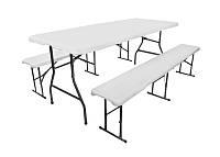 Складной стол туристический 180 см и 2 скамейки стальная конструкция, фото 1