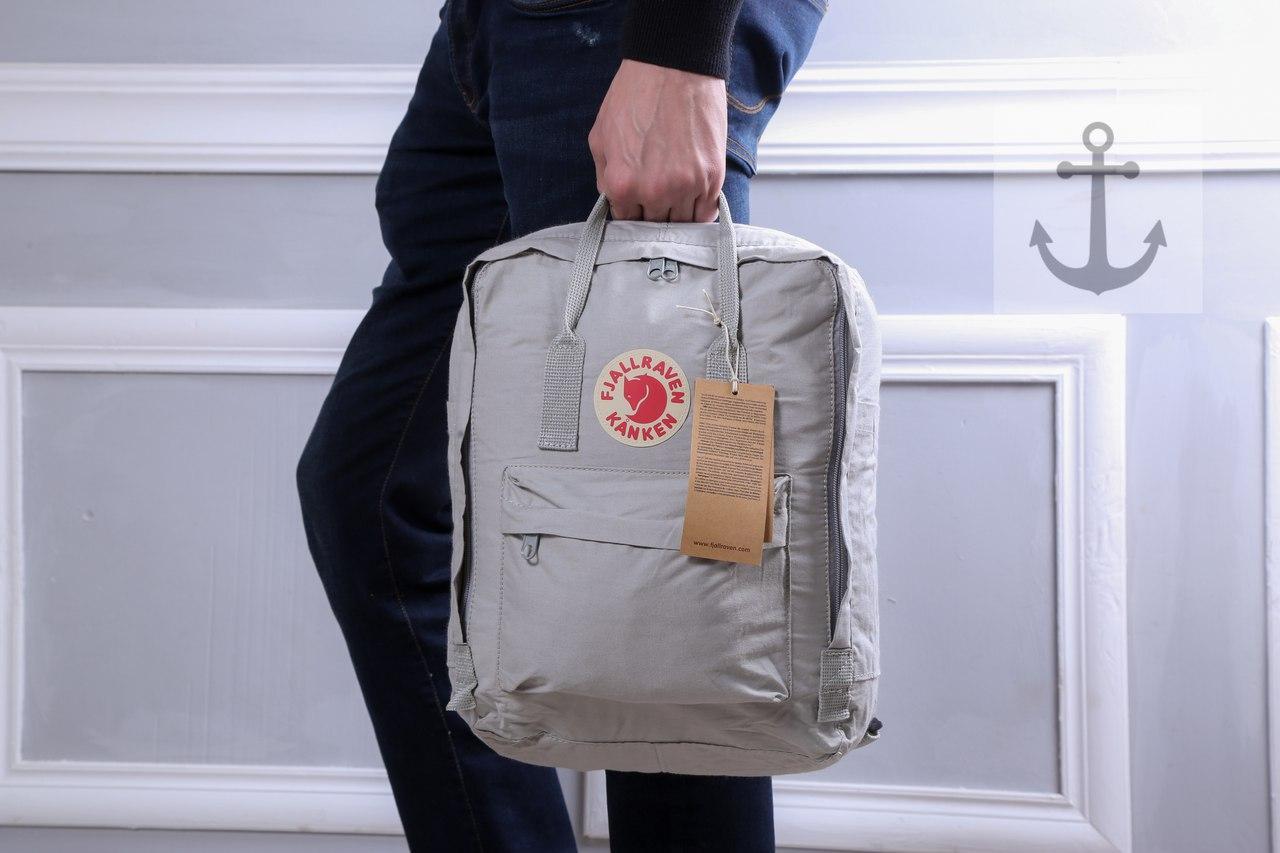 Фирменный рюкзак квадратный текстильный топ качество (серые), ТОП-реплика