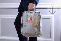 Фирменный рюкзак квадратный текстильный топ качество (серые), ТОП-реплика, фото 1