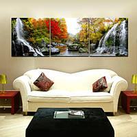 Картина по номерам Триптих. Водопад Триптих 50 х 150 см (MS14075)