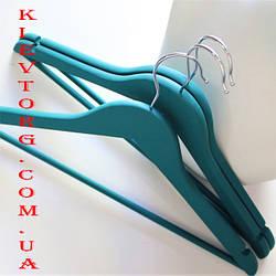 Набор вешалок тремпелей плечиков деревянных для одежды soft-touch (прорезиненных) бирюзовых, 44 см, 3 шт