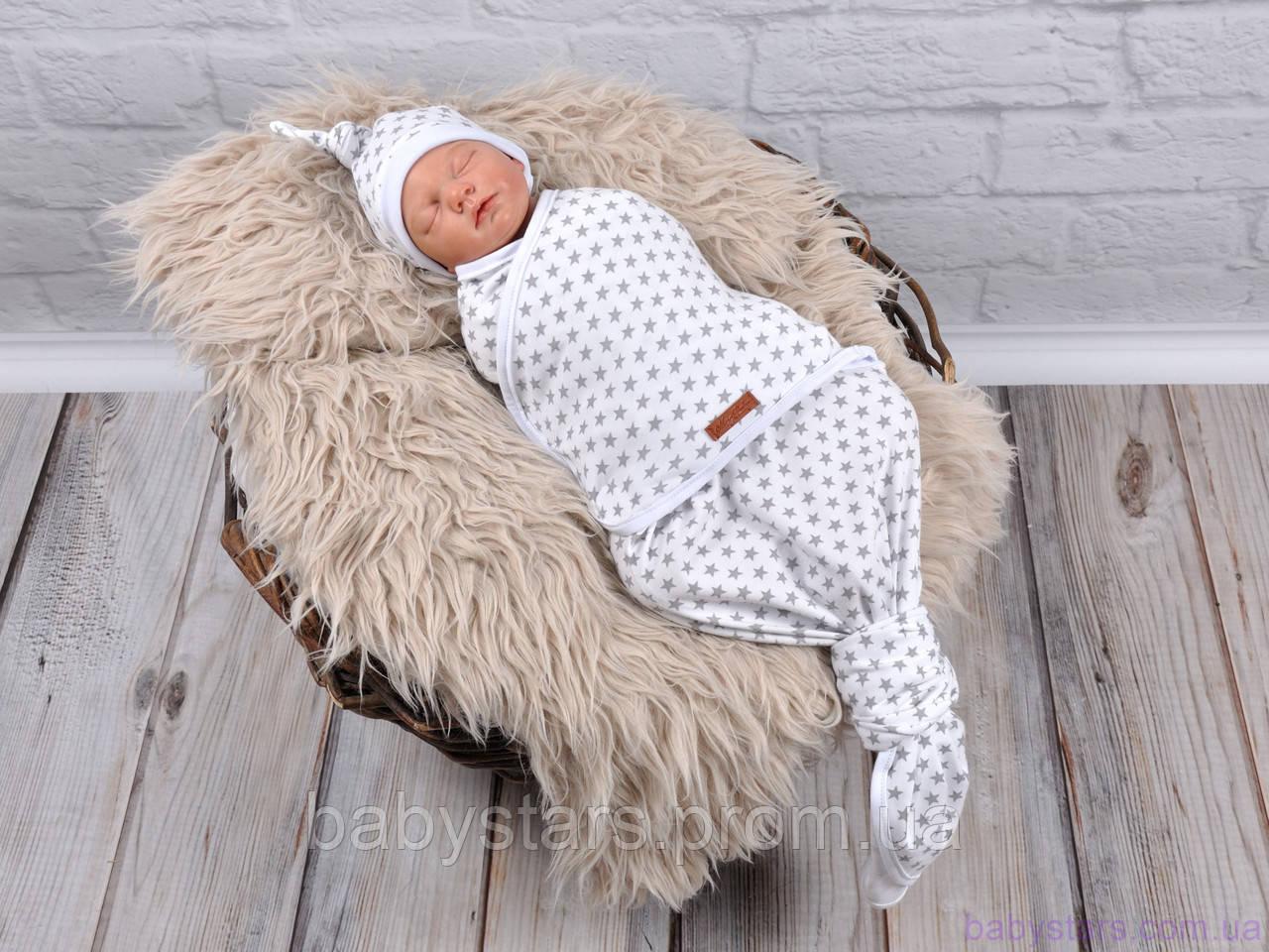 """Пеленки на липучках для новорожденных """"Каспер"""" безразмерные с шапочкой, Звездочка"""