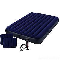 Надувной матрас Intex 203x152 см велюровый с насосом и подушками