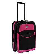 Дорожный чемодан на колесах Bonro Style Черно- розовый Небольшой