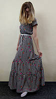 Женское летнее платье в пол с ярусной юбкой, П43