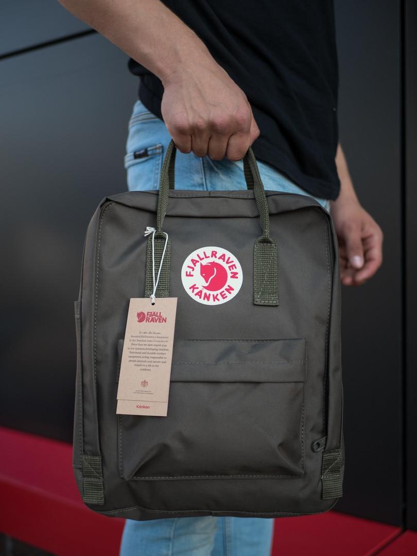 Качественный стильный городской рюкзак среднего размера цвета хаки, ТОП-реплика