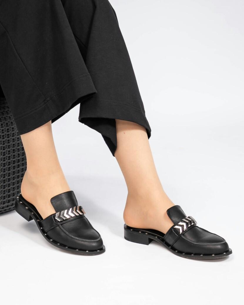 Мюли женские кожаные черные